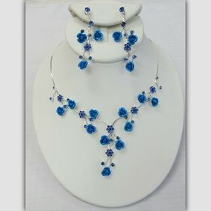 Silver Blue Flower Floral Necklace Jewelry Set